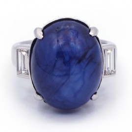 This is a picture of a Star Blue Sapphire with Baguettes in Platinum Setting