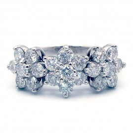 This is a picture of a Floral Cluster Diamond Ring in 14k White Gold