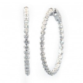 This is a picture of 14k White Gold Diamond Hoop Earrings