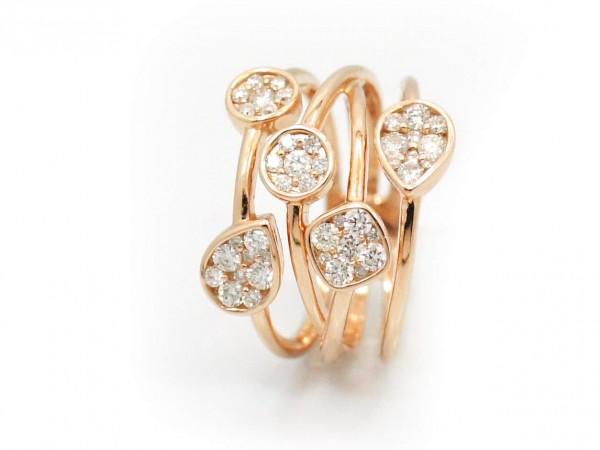 This is a picture of an 18k Rose Gold Multi-Band Diamond Ring
