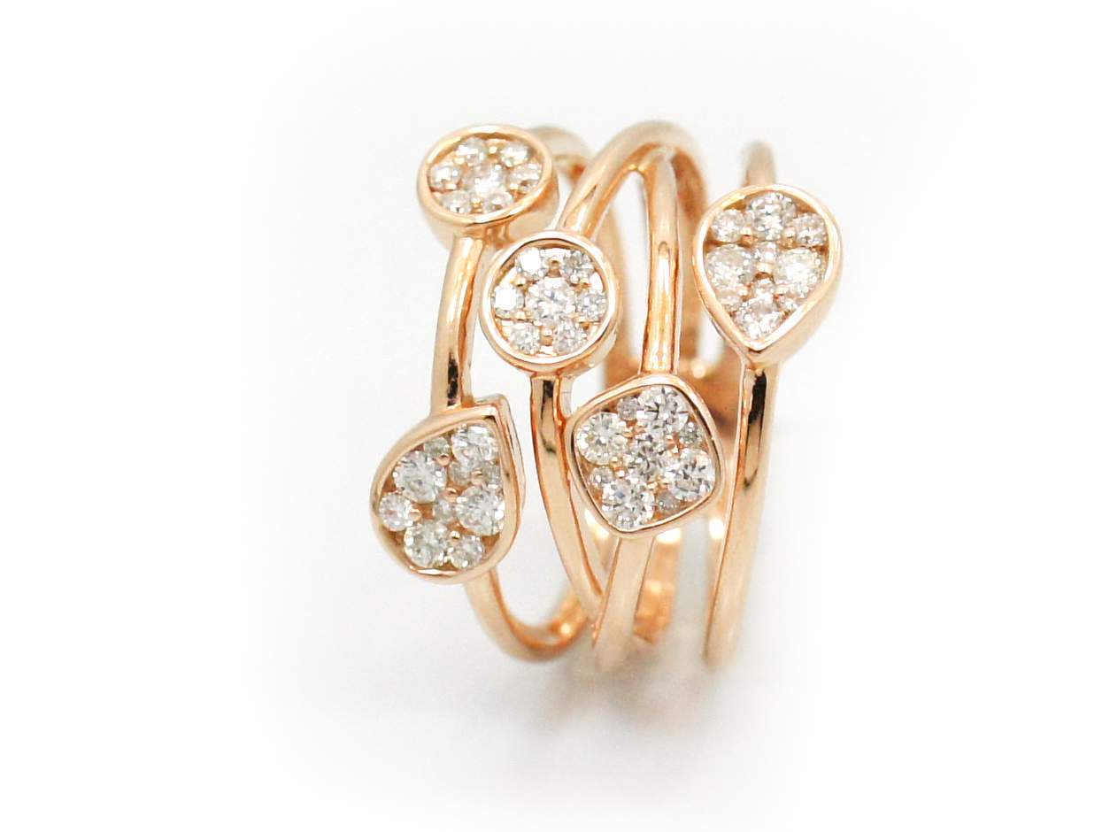 18k Rose Gold MultiBand Diamond Ring Reuven Gitter Jewelers