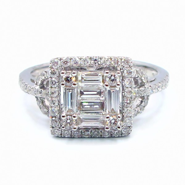 This is a picture of a Baguette and Round Diamond Ring with Square Shaped Halo