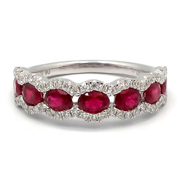 This is a picture of a Ruby and Diamond Ring set in 18k White Gold