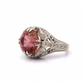 This is a picture of a Pink Tourmaline and Diamond Art Deco Inspired Cocktail Ring