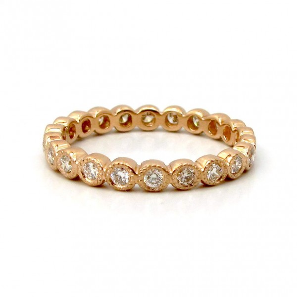 This is a picture of a Diamond Eternity Band set in 14k Rose Gold