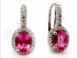 This is a picture of Rubellite Earrings with Diamond Halo