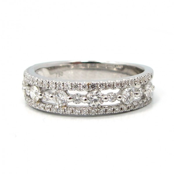 This is a picture of a 3 Row Round Diamond Band set in 18k White Gold