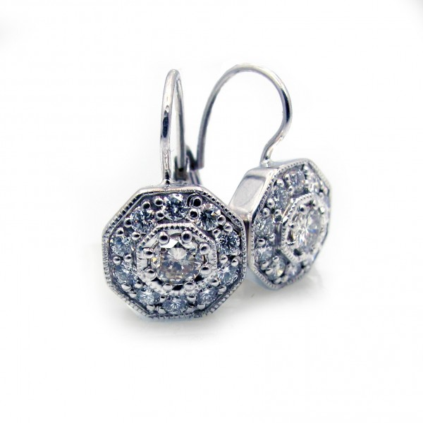 This is a picture of Vintage Inspired Diamond Leverback Earrings