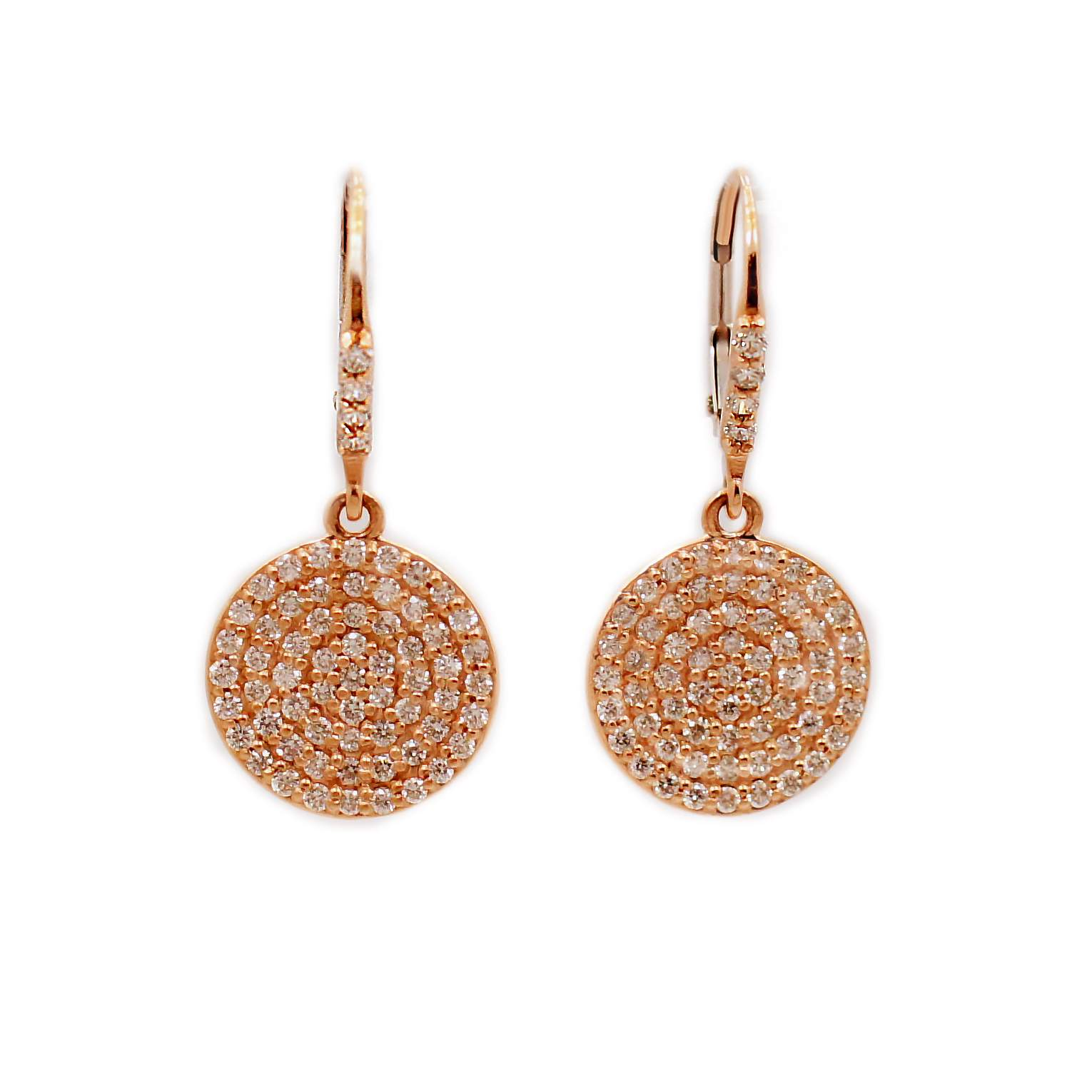 Pave Diamond Disc Earrings In 14k Rose Gold