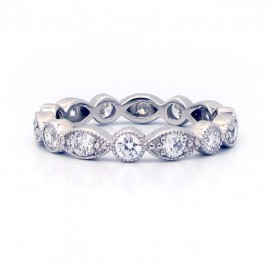 This is a picture of an Alternating Round and Marquise Bezel Diamond Swing Ring