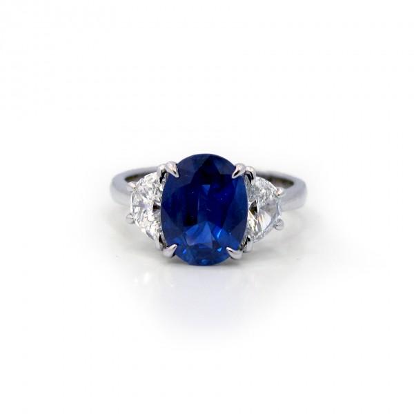Oval Sapphire and Half Moon Diamond Ring Platinum