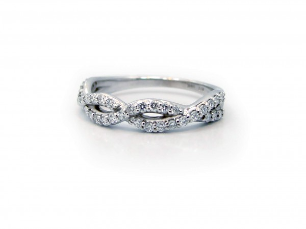 This is a picture of a 14k White Gold Twisted Diamond Band