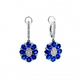 This is a picture of Blue Sapphire and Diamond Floral Earrings