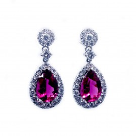 Rubellite and Diamond Dangle Earrings
