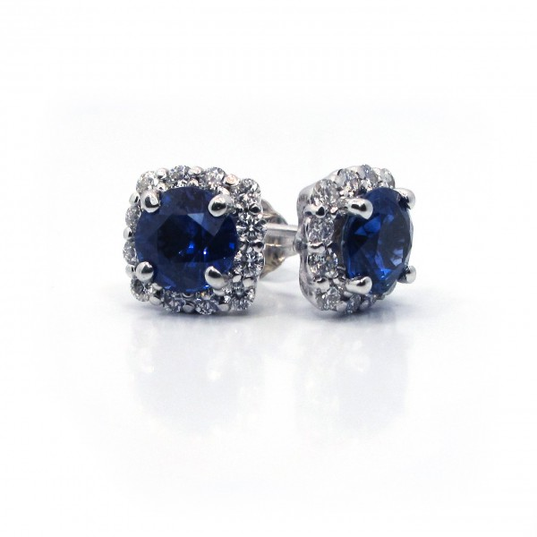 Ceylon Sapphire and Diamond Halo Stud Earrings
