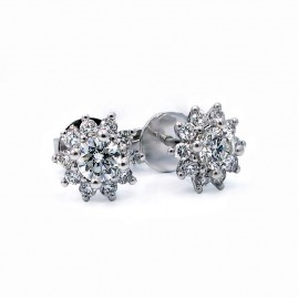 Floral Diamond Halo Stud Earrings