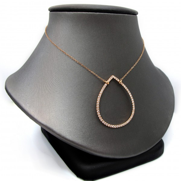 Diamond teardrop necklace set in 18k rose gold