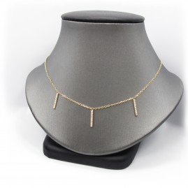 Picture of Triplet Bar Necklace in yellow gold and Diamonds