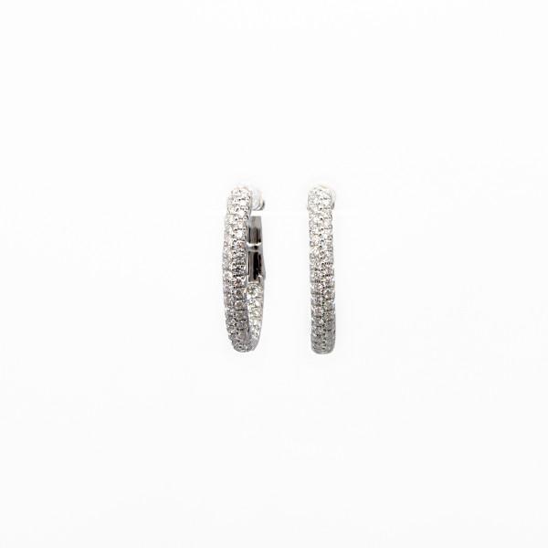 Diamond Pave Oval Hoop Earrings
