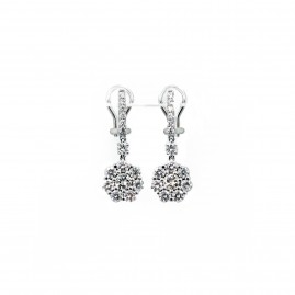 Floral Diamond Drop Earrings