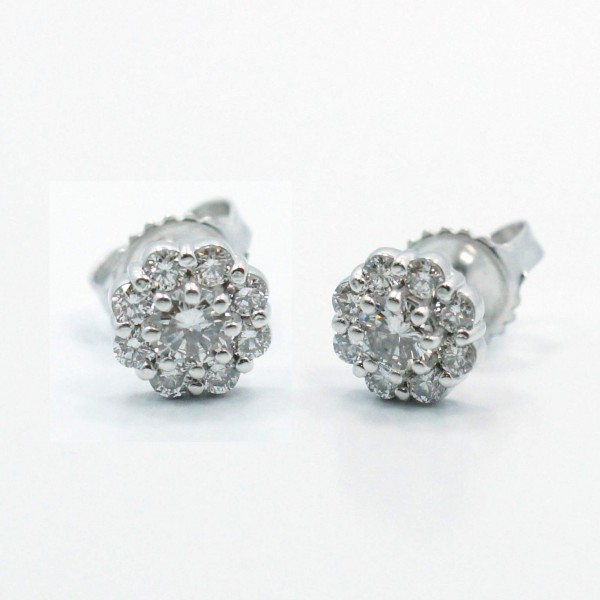 This is a picture of Floral Halo Diamond Stud Earrings