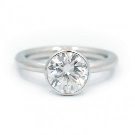 This is a picture of a Platinum Elevated Bezel Solitaire Diamond Setting
