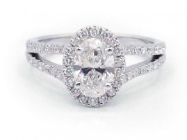 This is a picture of a White Gold Halo with Diamond Split Shank Engagement Ring
