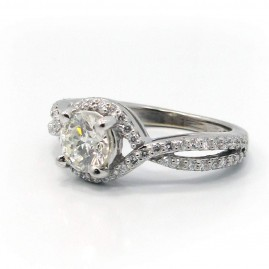 This is a picture of a Criss Cross Split Shank Halo Set Engagement Ring