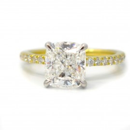18k Yellow Gold Shared Prong Diamond Engagement Ring