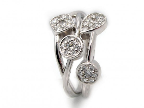 This is a picture of a Weave Design Diamond Ring in 14k White Gold
