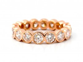 This is a picture of a 14k Rose Gold Bezel Set Diamond Eternity Band
