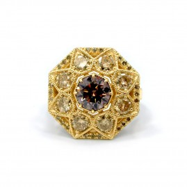 This is a picture of a Fancy Brown and Champagne Diamond Octagonal Ring