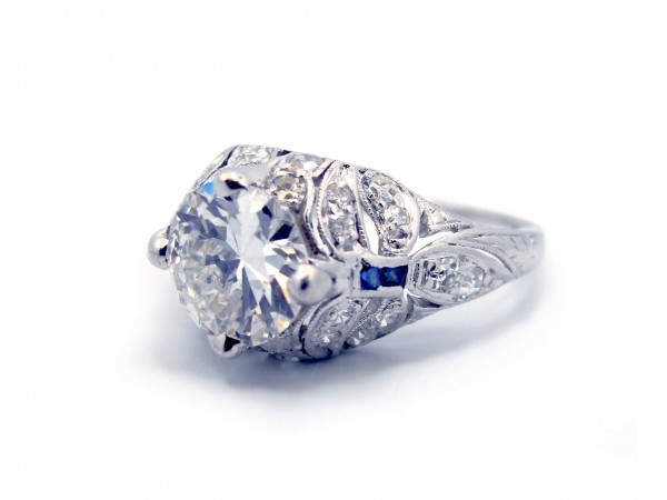 This is a picture of a Vintage Inspired Platinum Diamond and Sapphire Engagement Ring