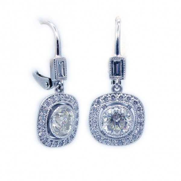 This is a picture of 14k White Gold Diamond with Halo Earrings