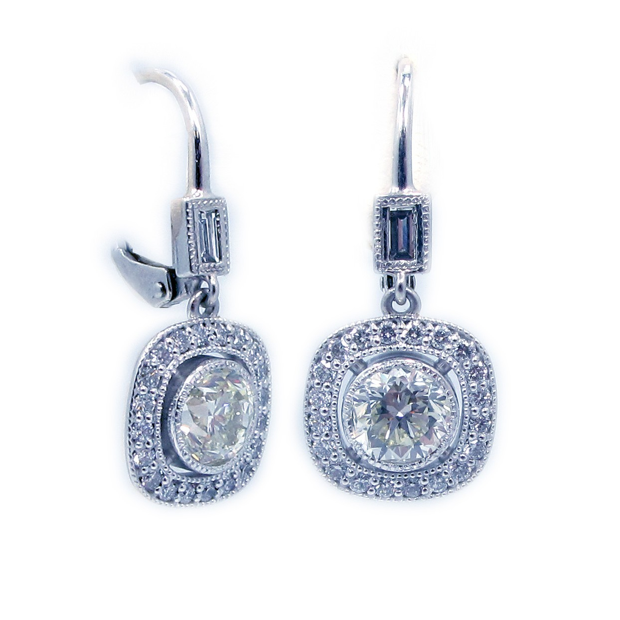 14k White Gold Diamond With Halo Earrings