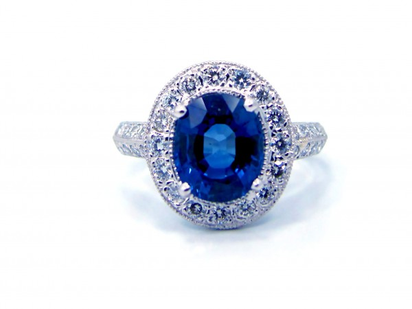 This is a picture of a Ceylon Sapphire and Diamond Ring