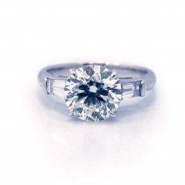 3 Stone Round with Tapered Baguette Platinum Engagement Ring