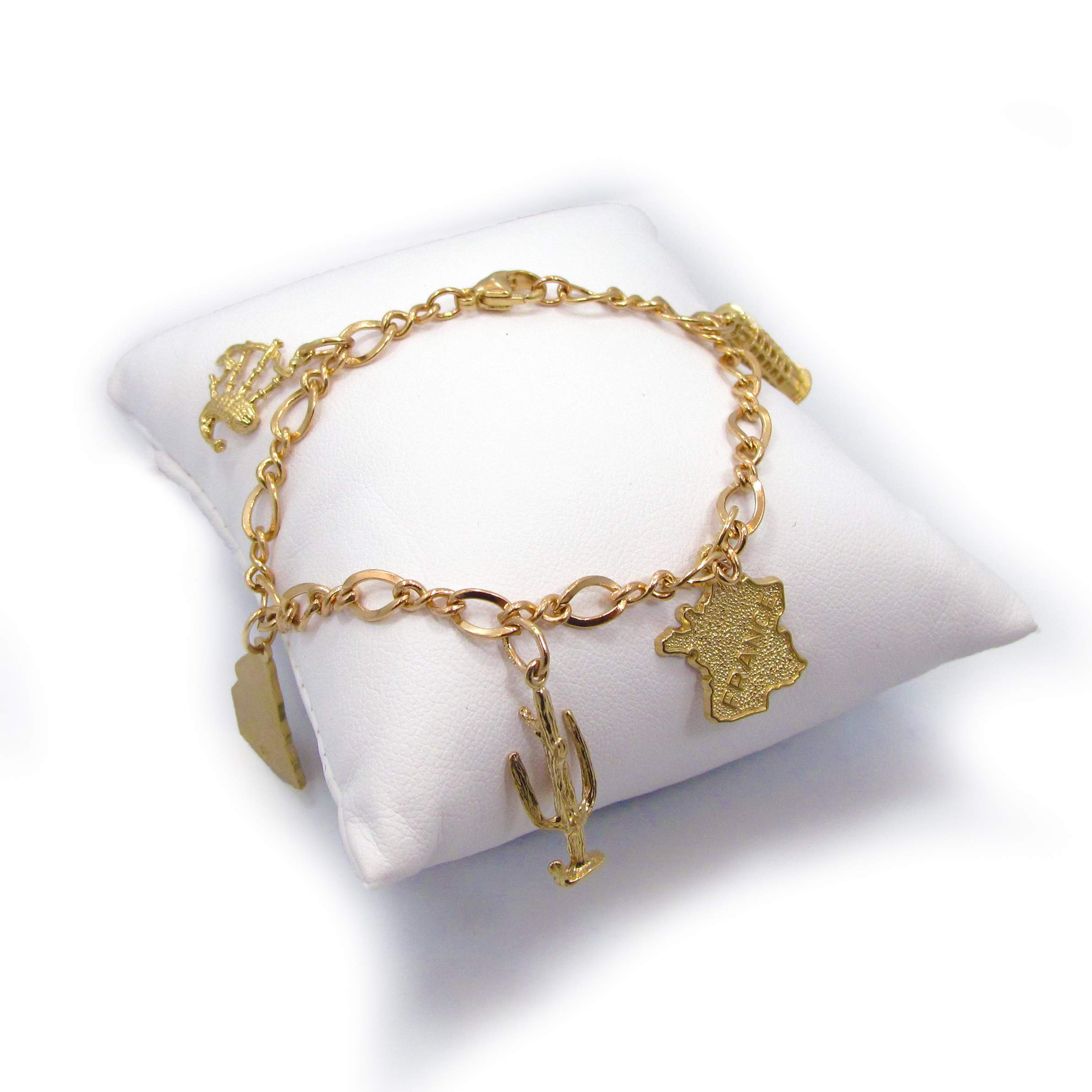 Customizable 14k Yellow Gold Charm Bracelet