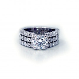 This is a picture of a Three Row Shared Prong Engagement Setting