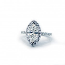 This is a picture of Marquise Diamond Halo Engagement ring