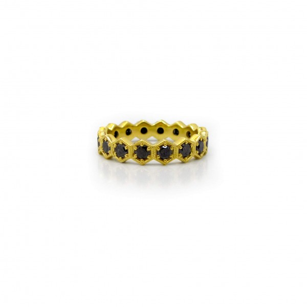 This is a picture of a Black Diamond Eternity Band in Hexagonal Bezels