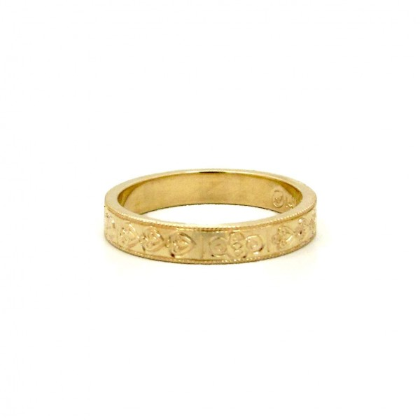 This is a picture of a Custom Engraved 14k Yellow Gold Wedding Band
