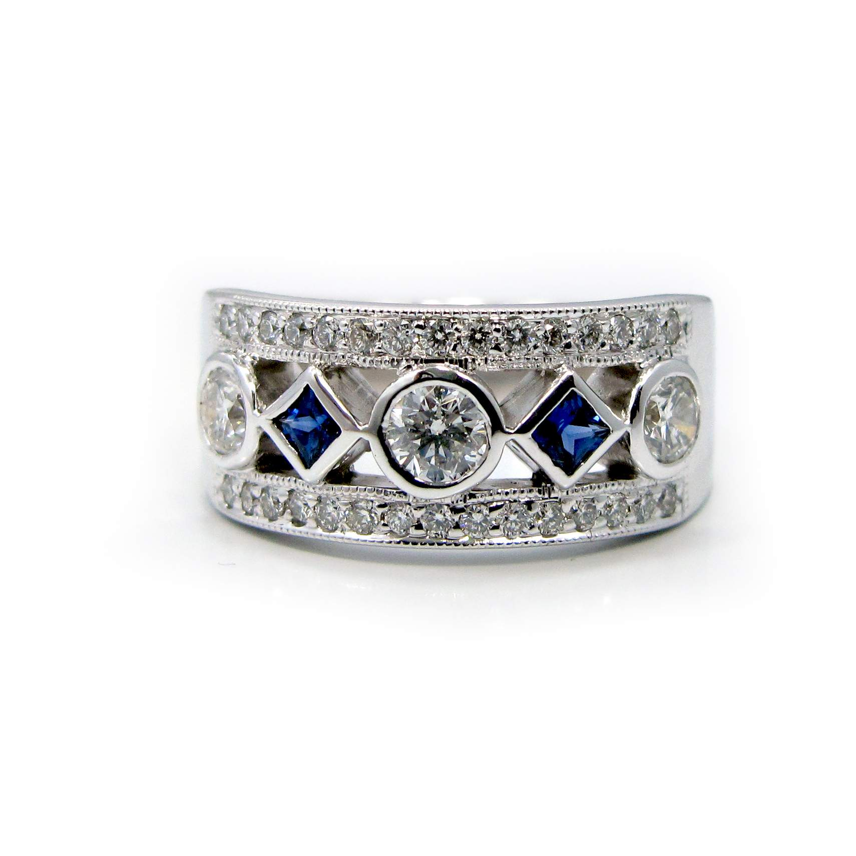 5 and princess cut blue sapphire ring