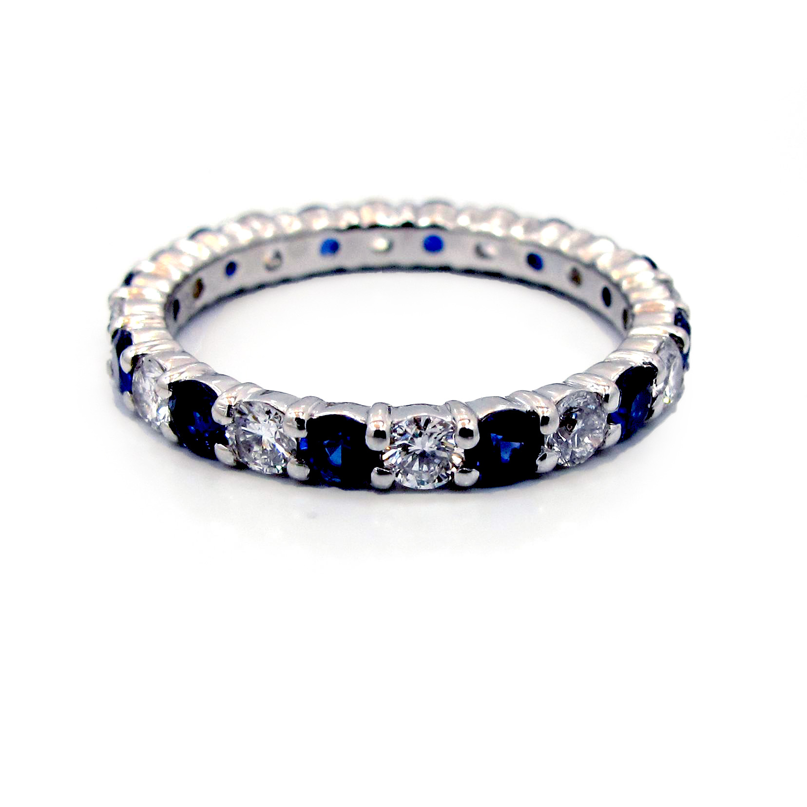 bezel gold bands diamond in pave wb prong bzdiaprsaph round set eternity band anniversary square platinum sapphire white