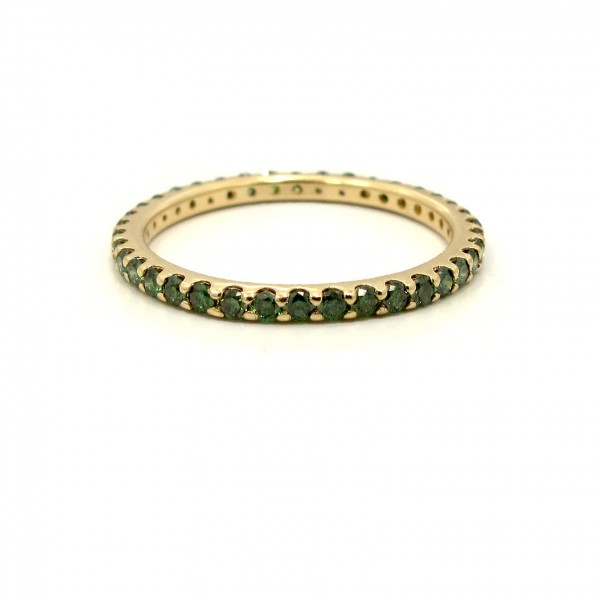 This is a picture of a Forest Green Diamond Eternity Band in 14k Yellow Gold