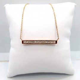 This is a picture of a Princess Cut Diamond Bar Necklace Set in 14k Rose Gold