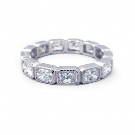 This is a picture of a Radiant Cut Bezel Set Diamond Eternity Band