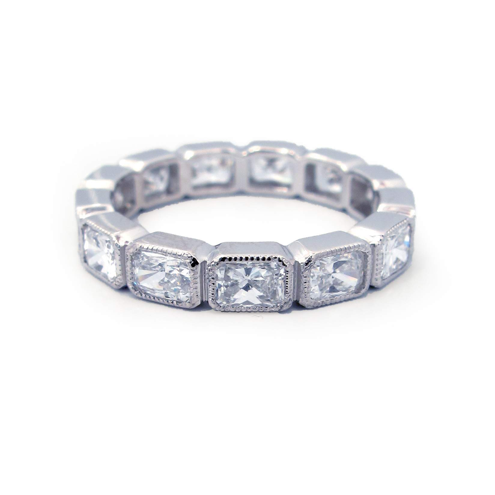 set round bands outstanding eternity rings diamond design antique bezel band baguette