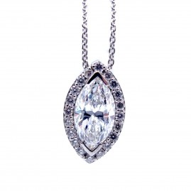 This is a picture of a Marquise Diamond Pendant with Halo in 14k White Gold