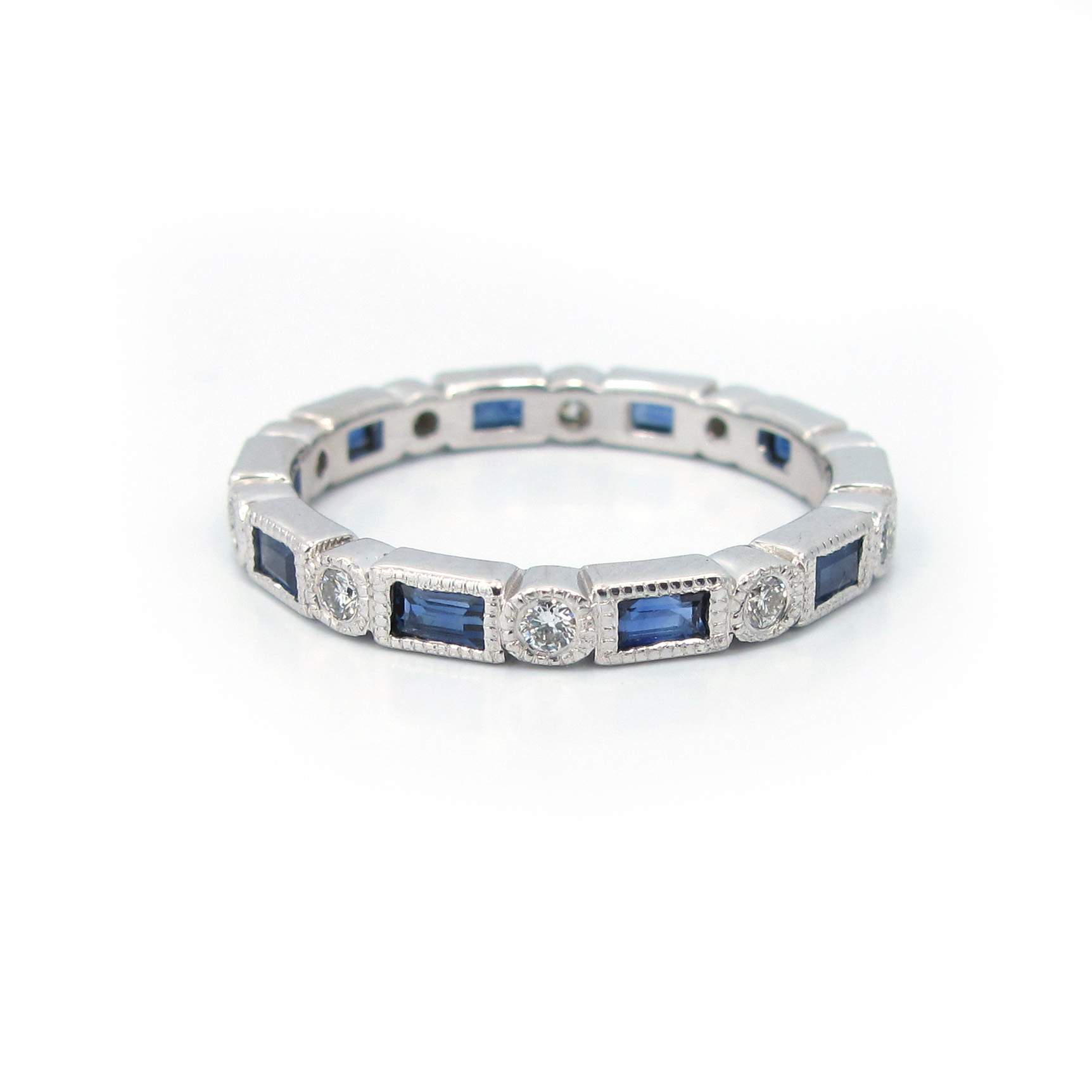 sapphire band love anniversary encircle and beveled baguette eternity round diamond et collections signature two bands with